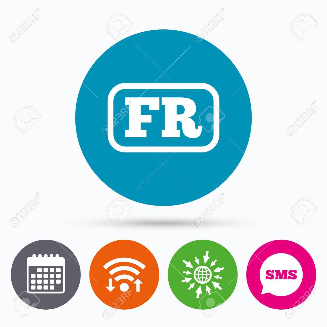 Wifi, SMS Y Calendario Iconos. Francés Icono Del Lenguaje De Signos ...