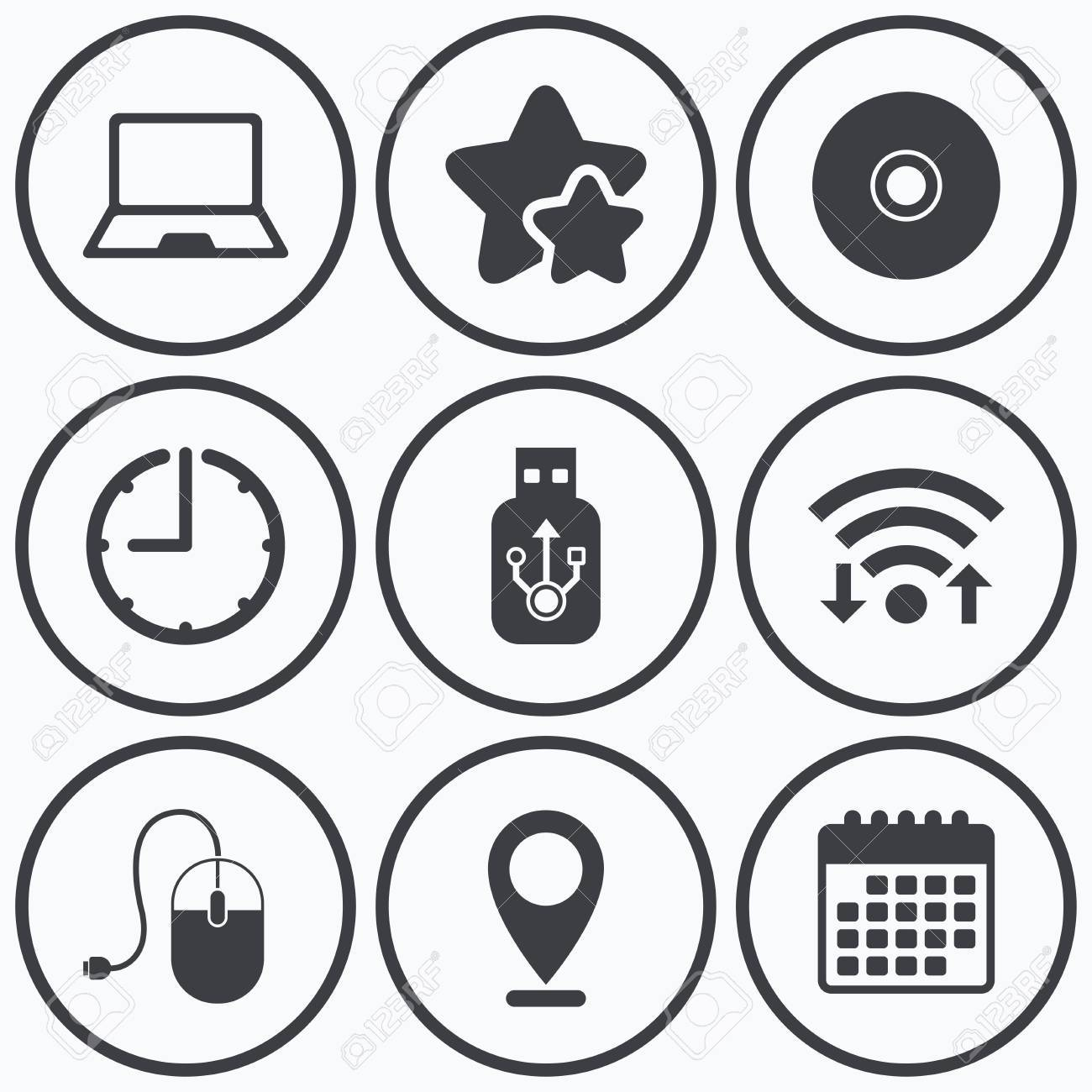 Clock, wifi and stars icons  Notebook pc and Usb flash drive