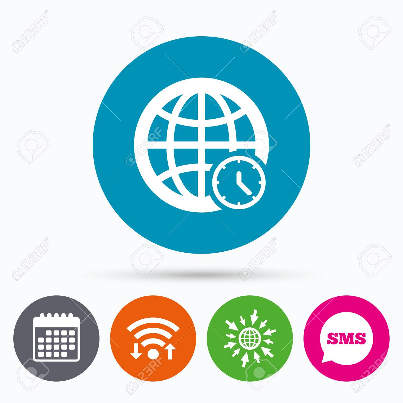 Wifi Sms And Calendar Icons World Time Sign Icon Universal