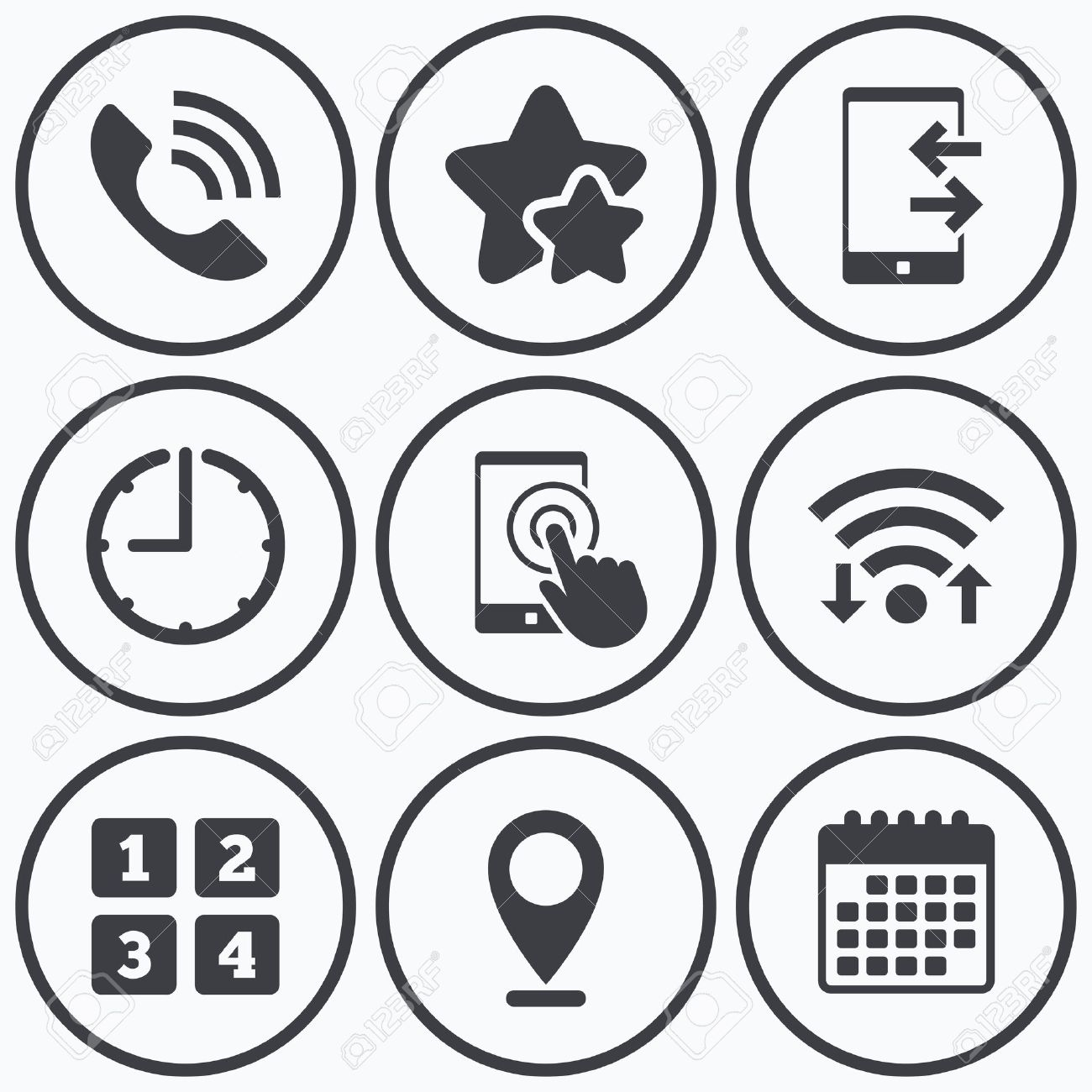 Clock wifi and stars icons phone icons touch screen smartphone clock wifi and stars icons phone icons touch screen smartphone sign call biocorpaavc