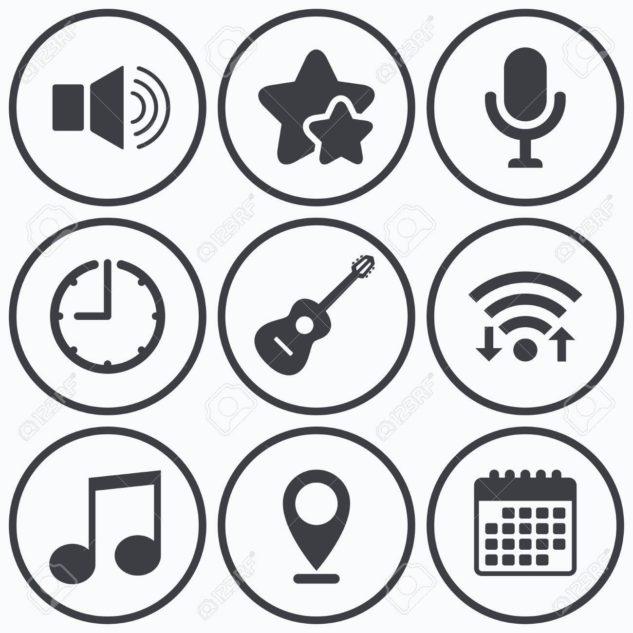 Clock wifi and stars icons musical elements icons microphone musical elements icons microphone and sound speaker symbols buycottarizona