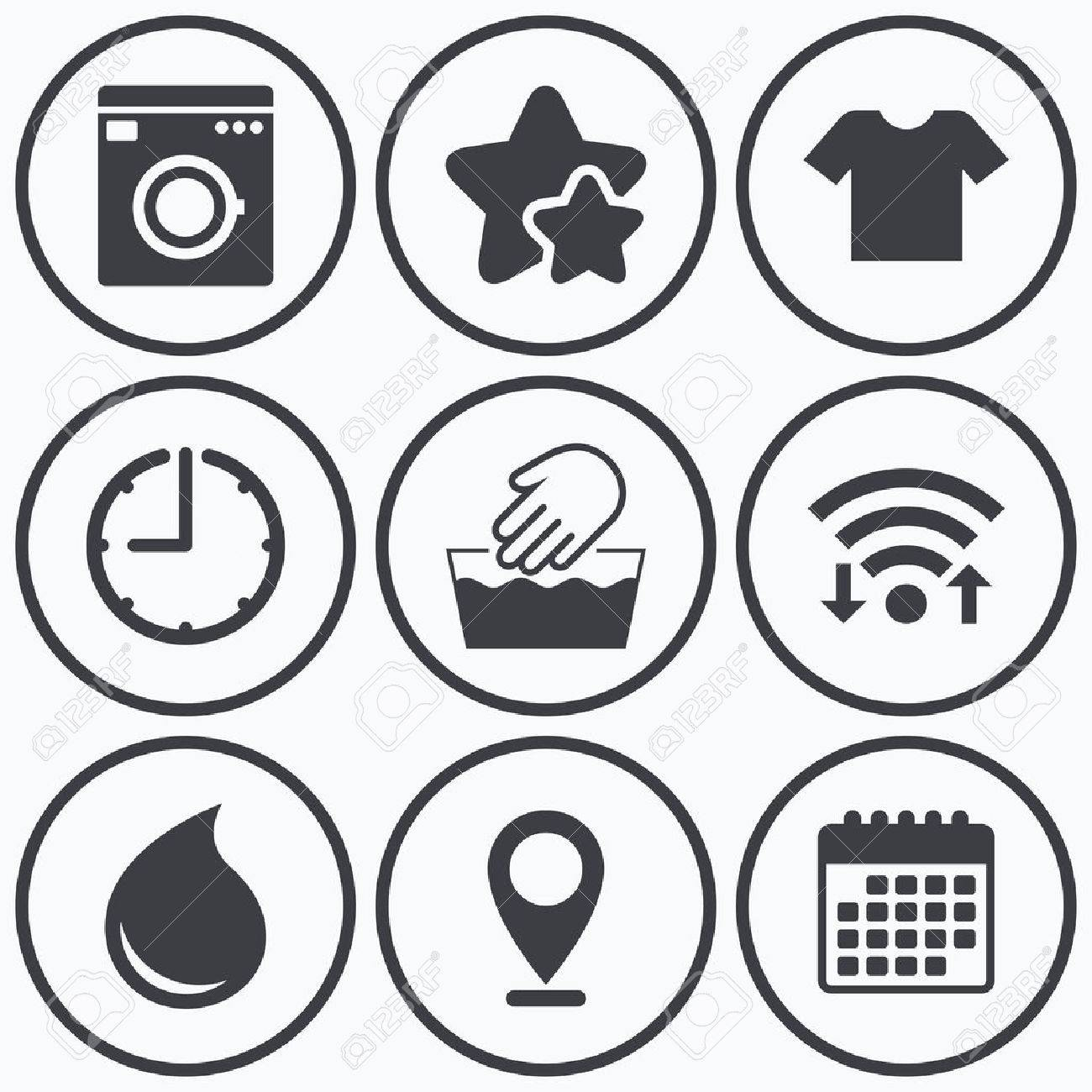 Clock wifi and stars icons wash machine icon hand wash t shirt calendar symbol clock wifi and stars icons wash machine icon hand wash t buycottarizona Image collections