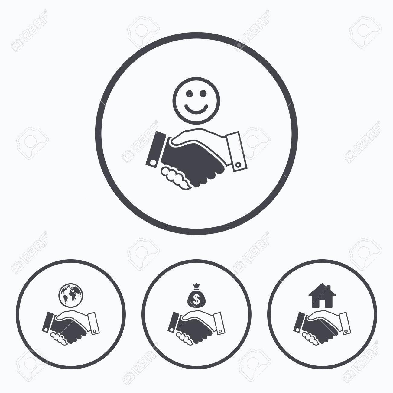 Handshake icons world smile happy face and house building symbol world smile happy face and house building symbol dollar cash money biocorpaavc