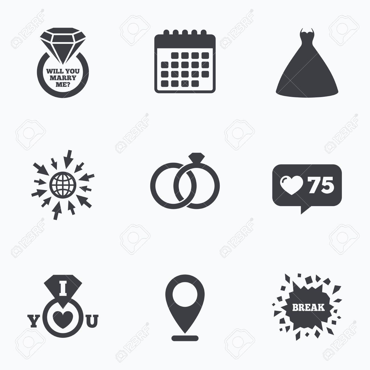 Kalender Wie Zahler Und Gehen Sie Zu Web Icons Brautkleid Symbol