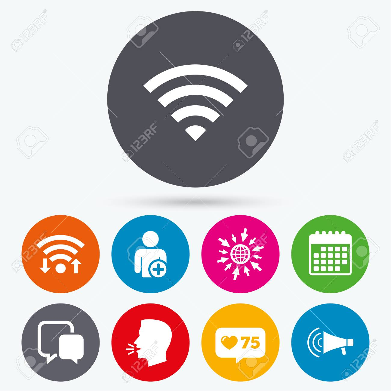 Wifi Like Counter And Calendar Icons Wifi And Chat Bubbles