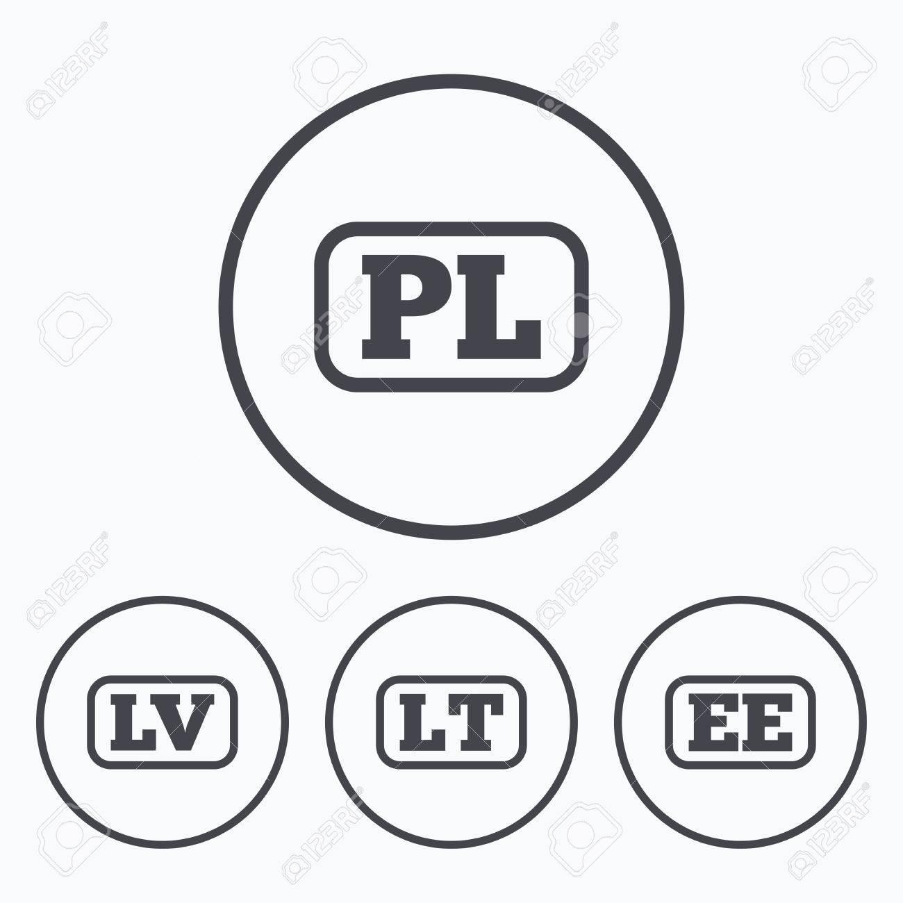 Language Icons. PL, LV, LT And EE Translation Symbols. Poland ...