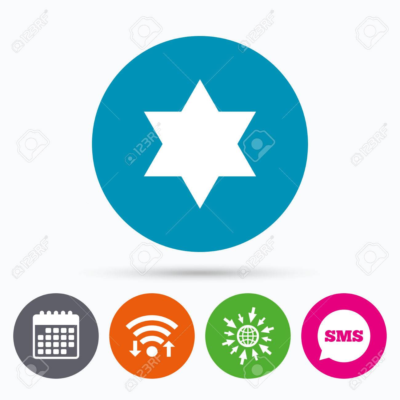 Wifi Sms And Calendar Icons Star Of David Sign Icon Symbol Of