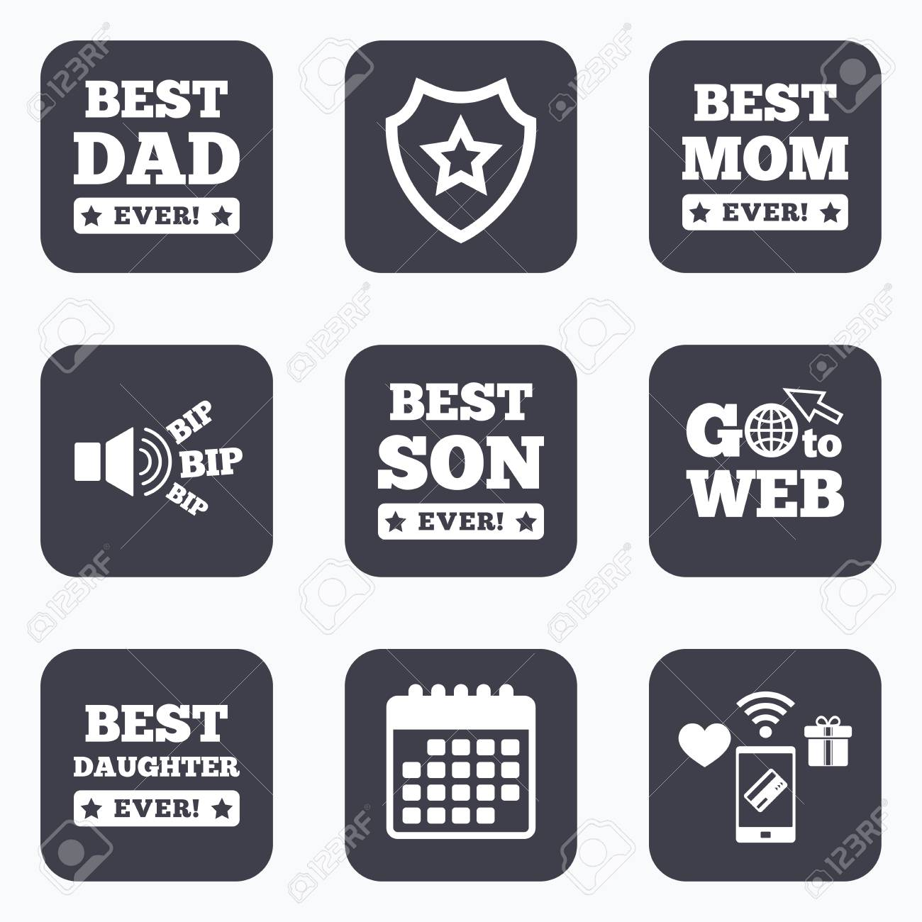 Mobile Payments Wifi And Calendar Icons Best Mom And Dad Son