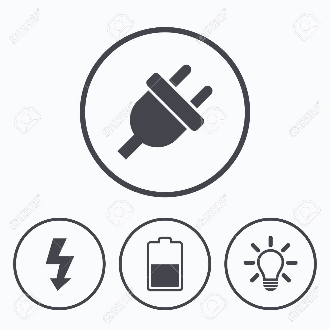 Electric Plug Icon Light Lamp And Battery Half Symbols Low Circuit With Bulb Electricity Idea Signs