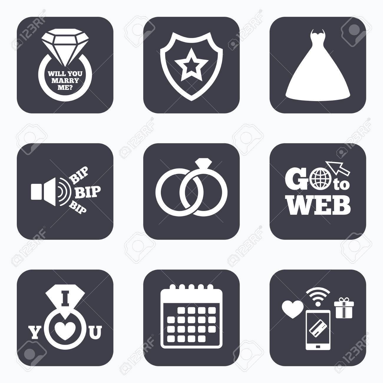 Mobile Zahlungen Wifi Und Kalender Symbole Hochzeitskleidikone
