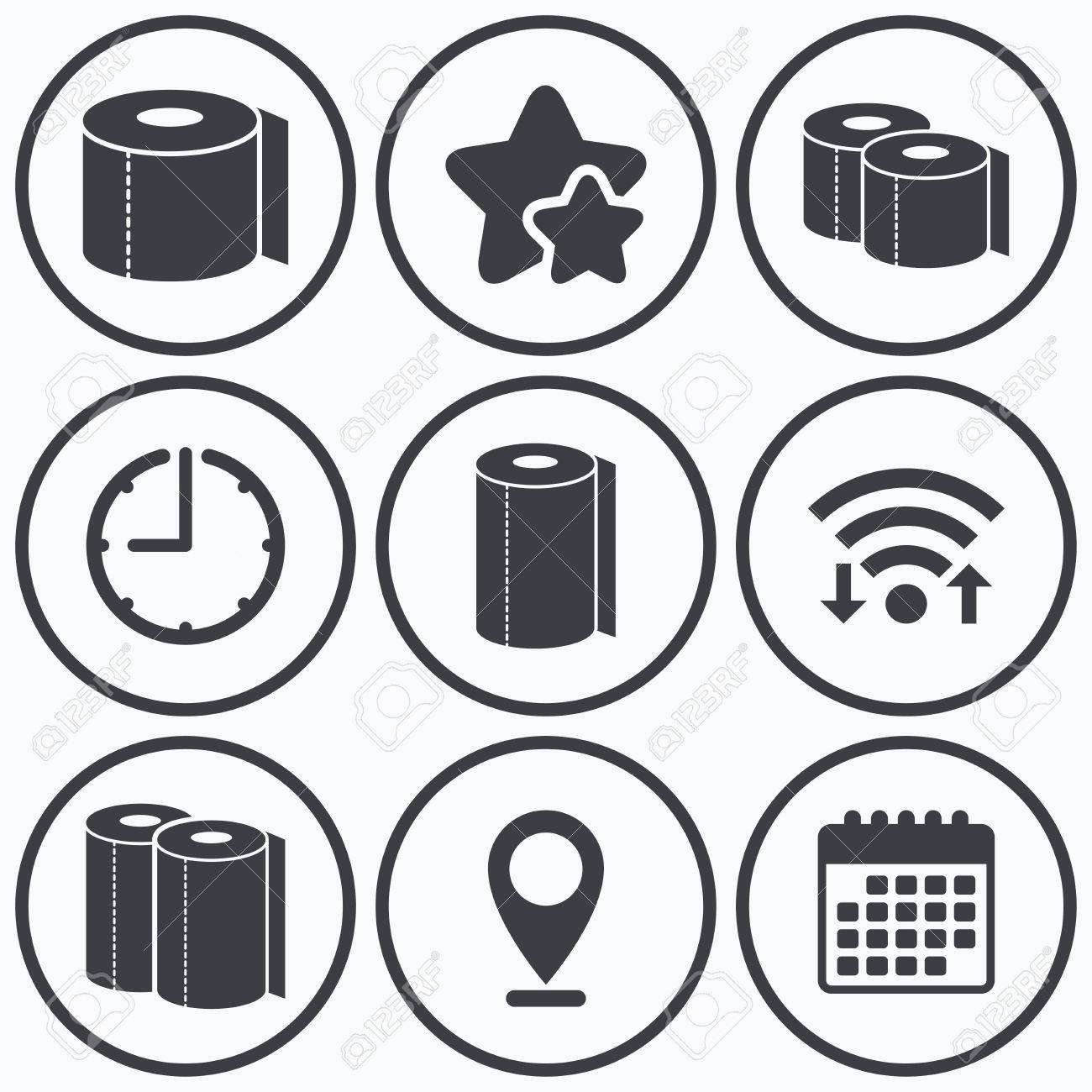 Clock wifi and stars icons toilet paper icons kitchen roll clock wifi and stars icons toilet paper icons kitchen roll towel symbols buycottarizona Choice Image