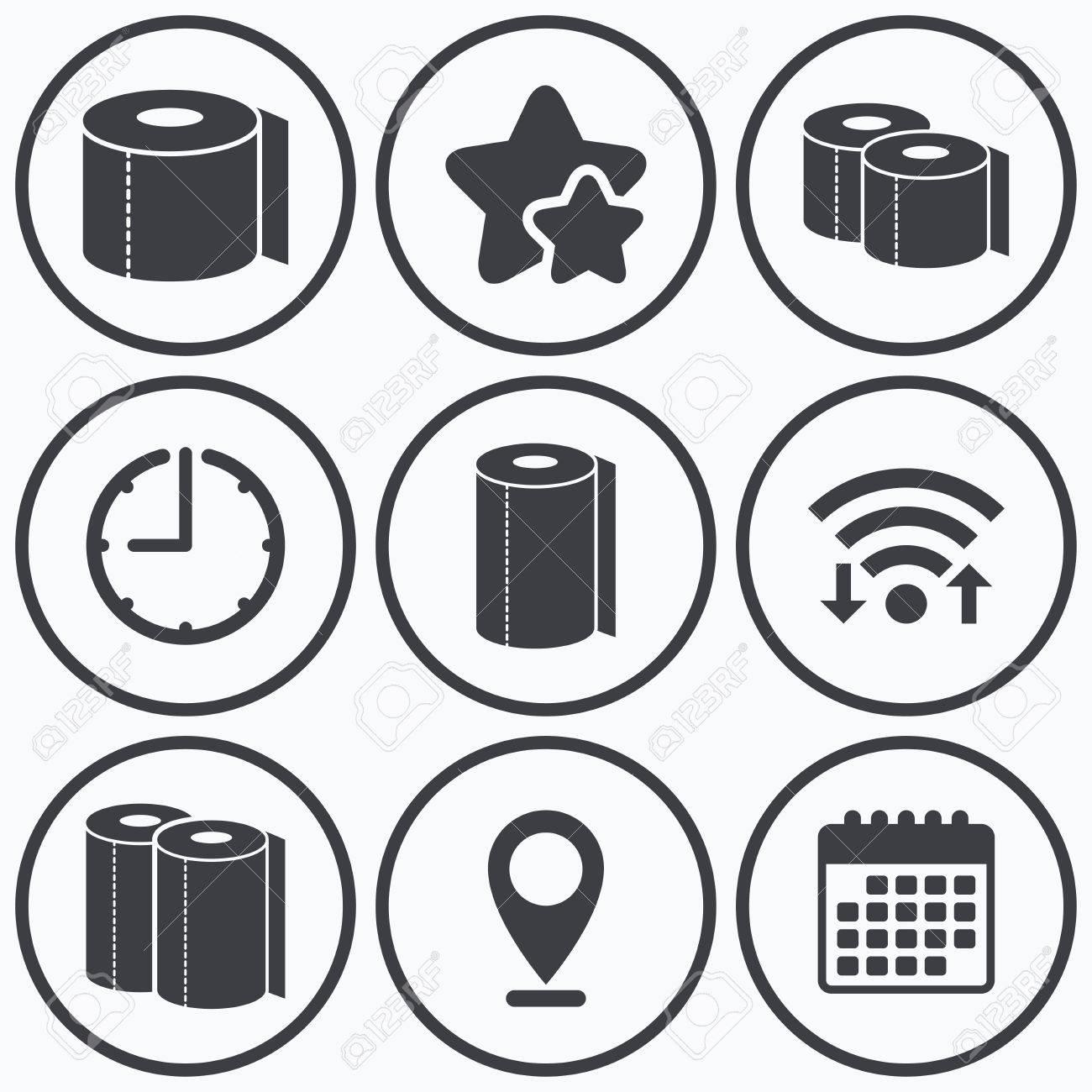 Reloj, WiFi Y Estrellas Iconos. Iconos De Papel Higiénico. Cocina ...