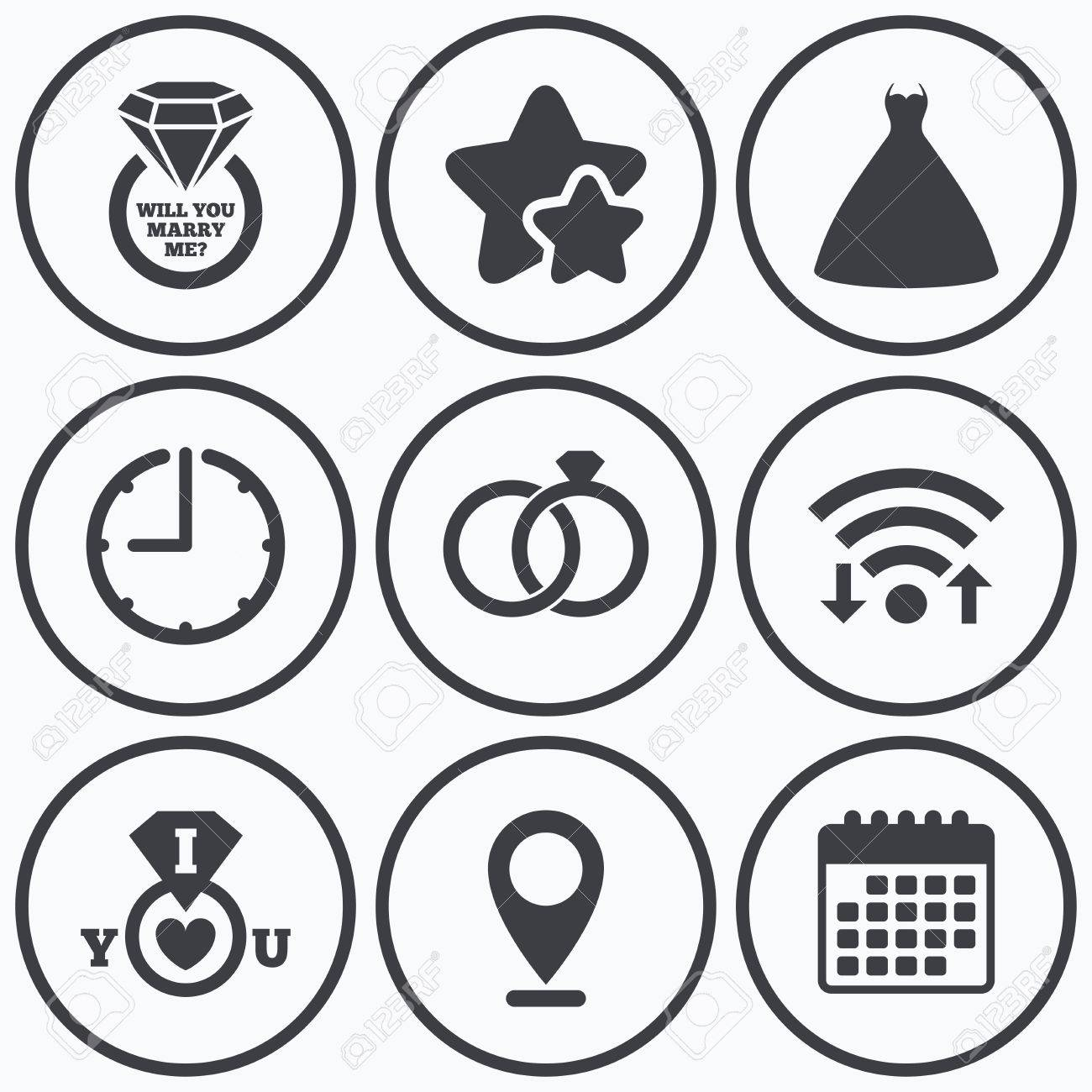 Clock Wi Fi Und Sterne Symbole Brautkleid Symbol Braut Und