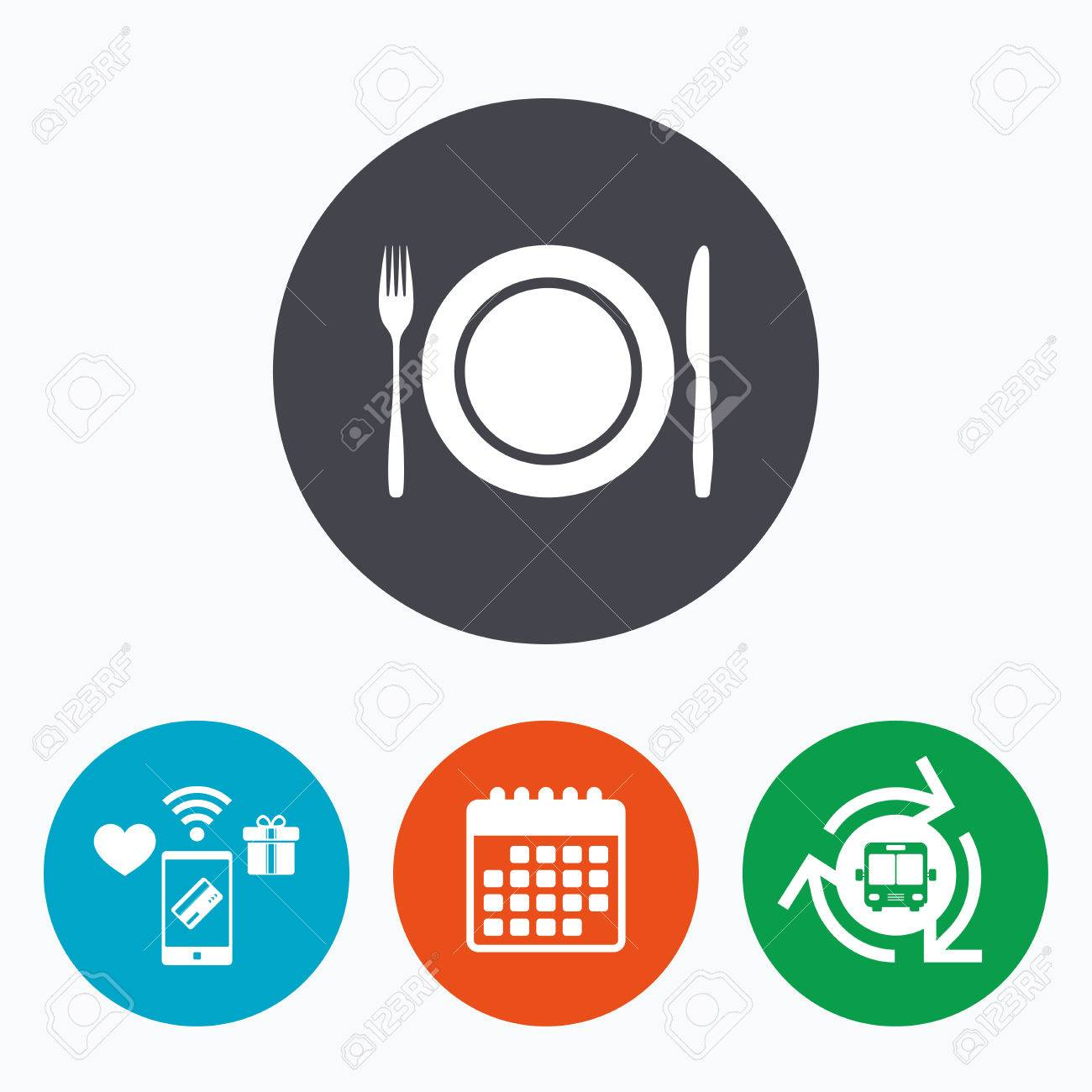 Plate Dish With Fork And Knife Eat Sign Icon Cutlery Etiquette