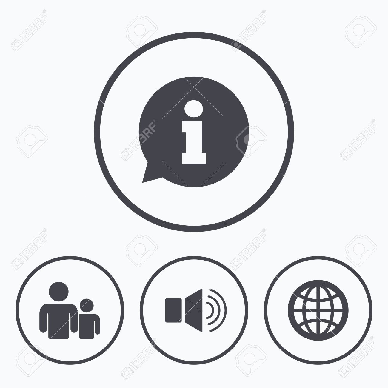 Information Sign Group Of People And Speaker Volume Symbols