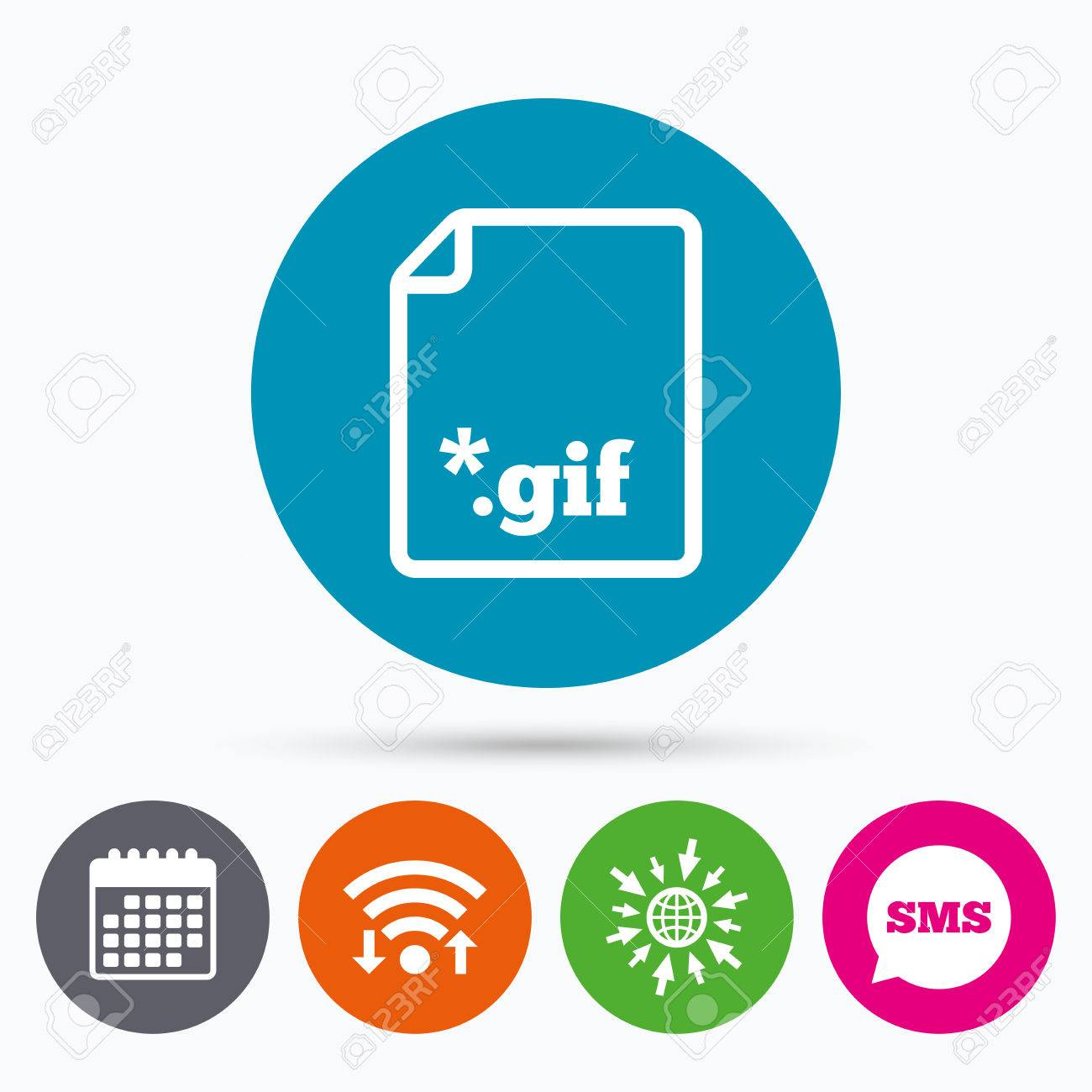 Wifi, Sms and calendar icons  File GIF sign icon  Download image
