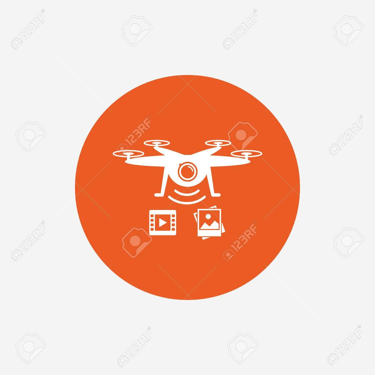 Drone Icon Quadrocopter With Video And Photo Camera Symbol Orange Circle Button