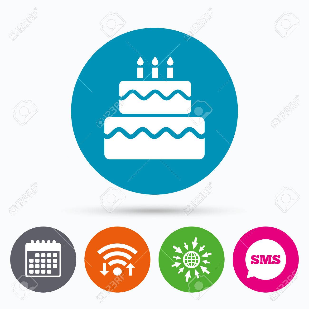 Wifi Sms And Calendar Icons Birthday Cake Sign Icon Cake With