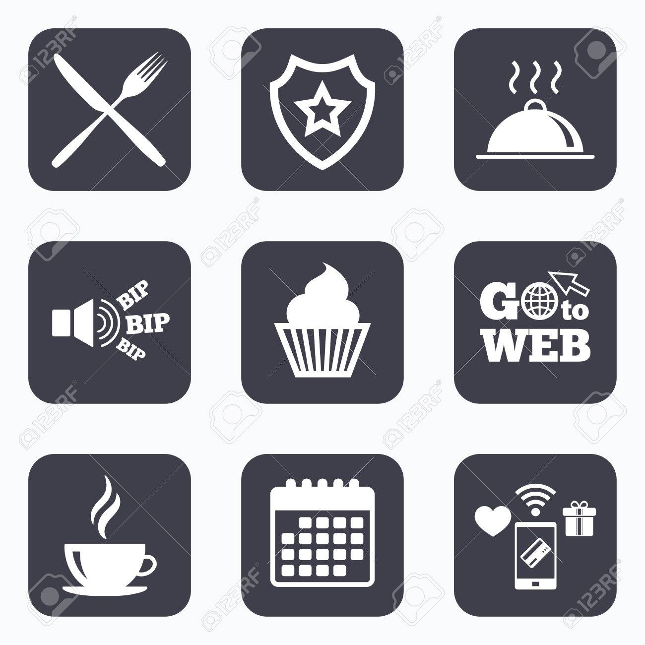 Mobile Payments Wifi And Calendar Icons Food And Drink Icons Muffin Cupcake Symbol Fork And Knife Sign Hot Coffee Cup Food Platter Serving Go