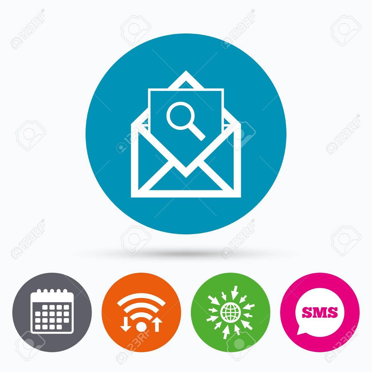 Courrier Et Calendrier.Wifi Sms Et Calendrier Icones Courrier Icone De Recherche Symbole D Enveloppe Signe Du Message Courrier Bouton De Navigation Aller A La Page Web