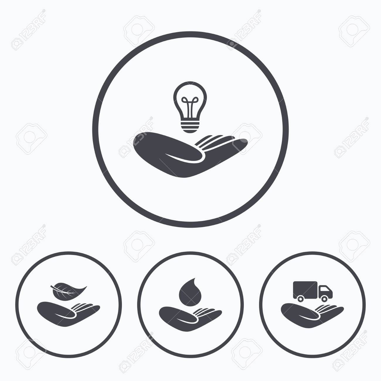 Helping Hands Icons Intellectual Property Insurance Symbol