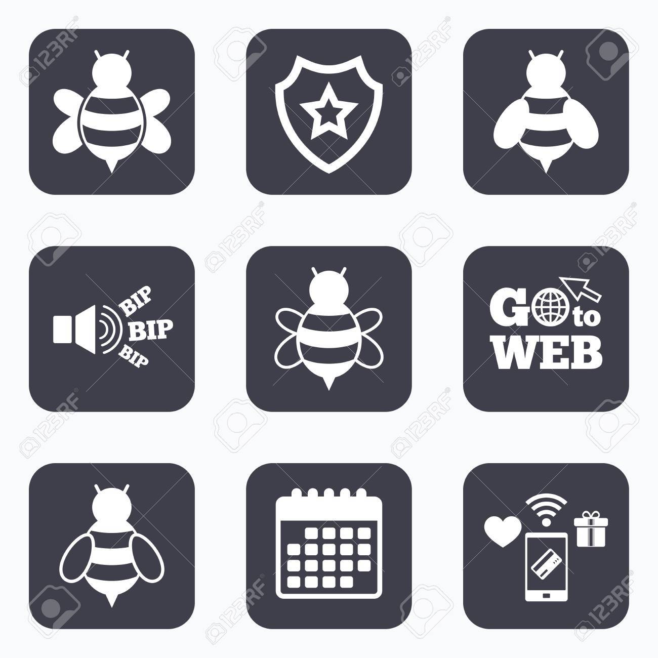 Mobile payments wifi and calendar icons honey bees icons mobile payments wifi and calendar icons honey bees icons bumblebees symbols flying biocorpaavc