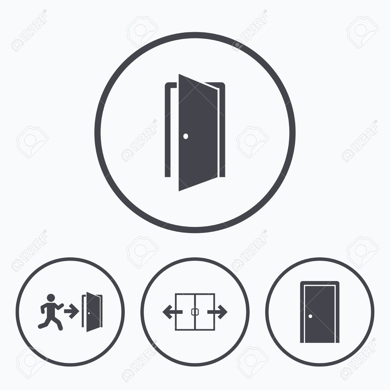 Automatic door icon. Emergency exit with human figure and arrow symbols. Fire exit signs