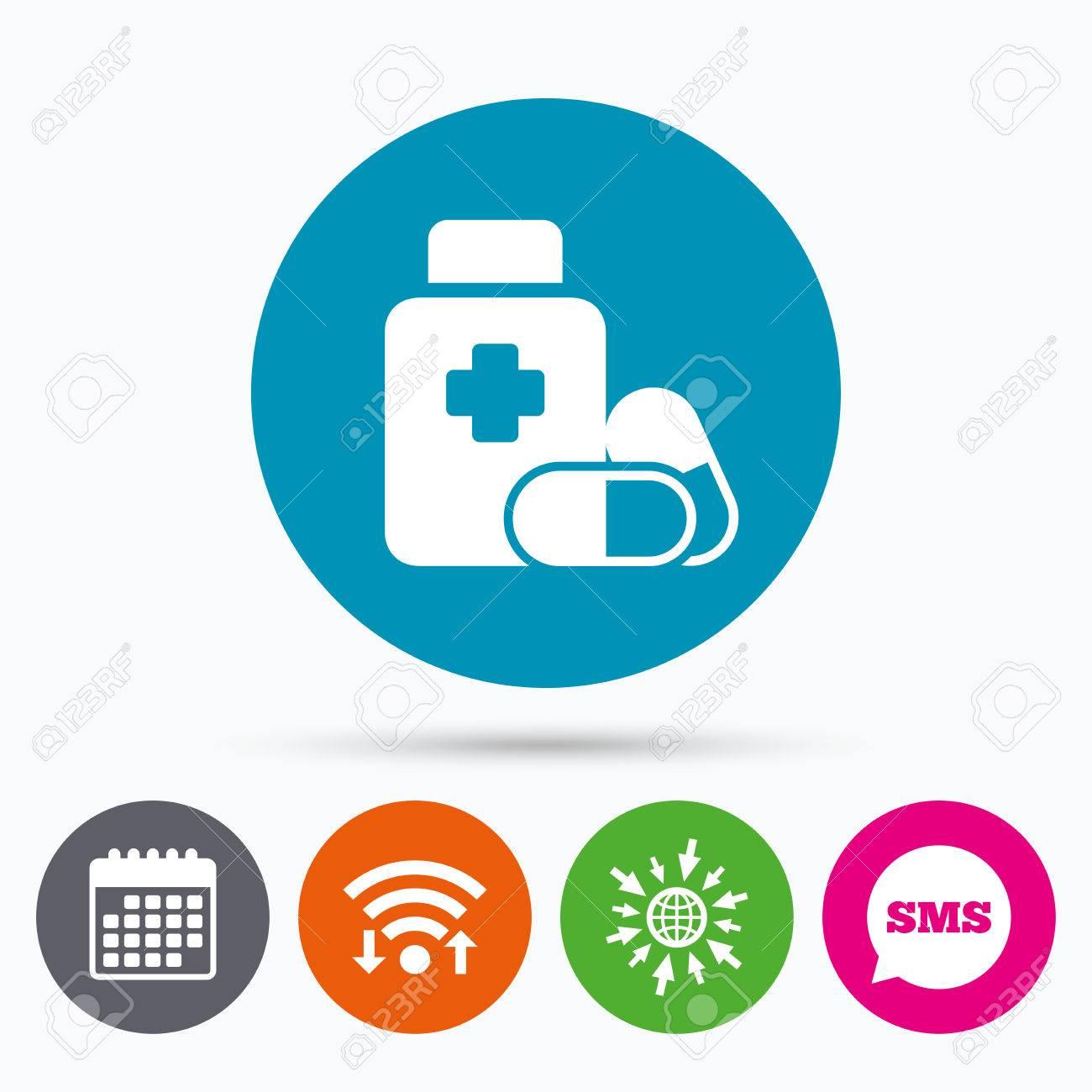 Wifi, SMS Y Calendario Iconos. Píldoras Médicas Botella Con El Icono ...