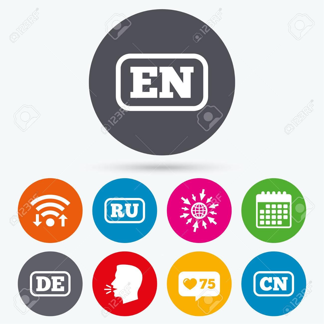 Wifi Like Counter And Calendar Icons Language Icons En De