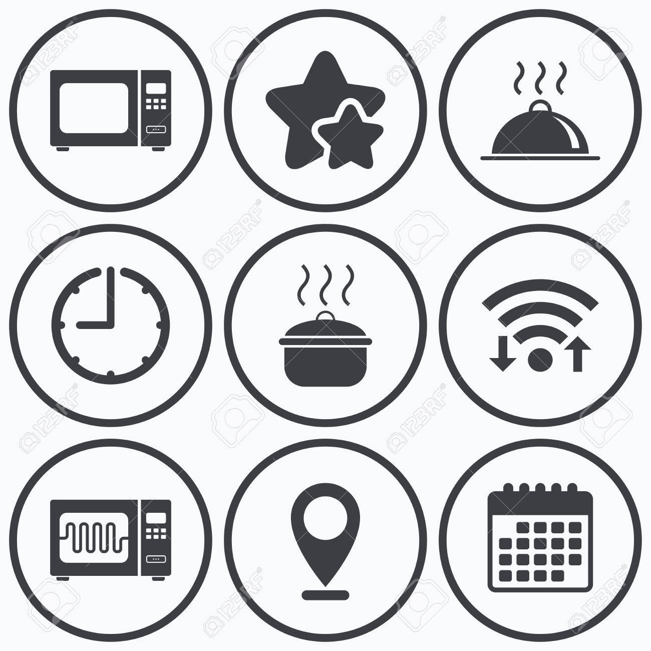 Clock Wifi And Stars Icons Microwave Grill Oven Icons Cooking