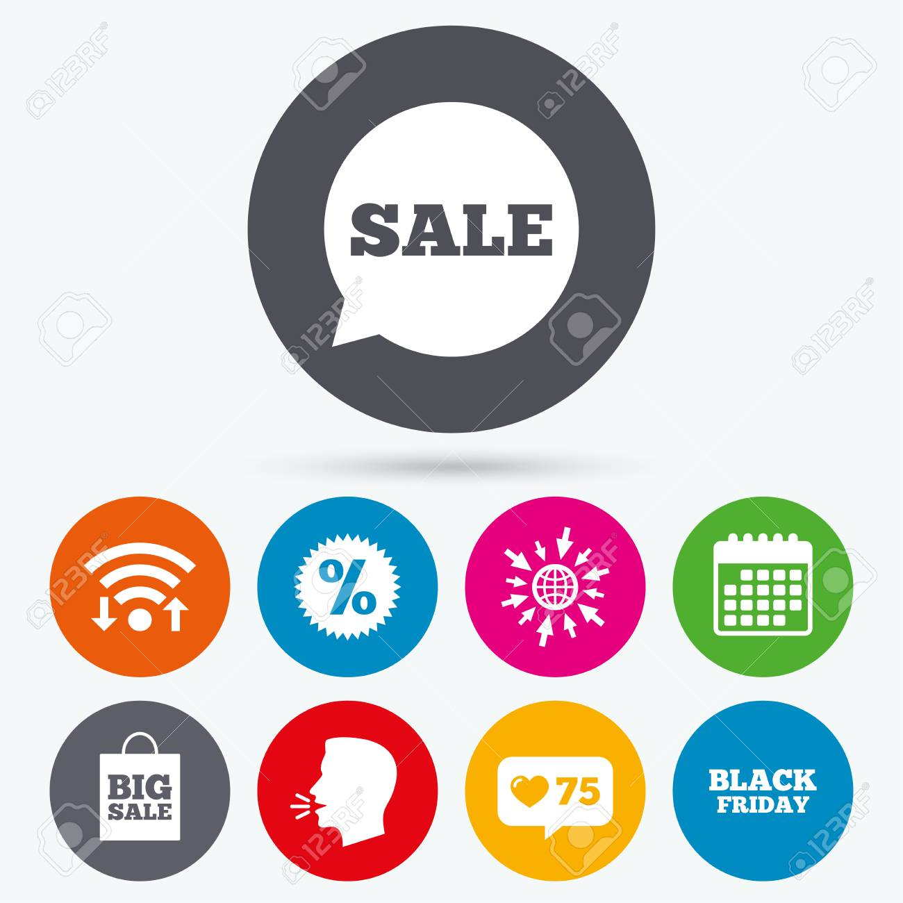 Wifi Like Counter And Calendar Icons Sale Speech Bubble Icon