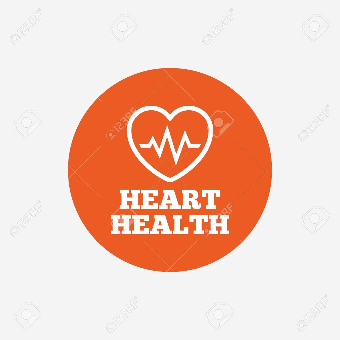 Heartbeat Sign Icon Heart Health Cardiogram Check Symbol Orange