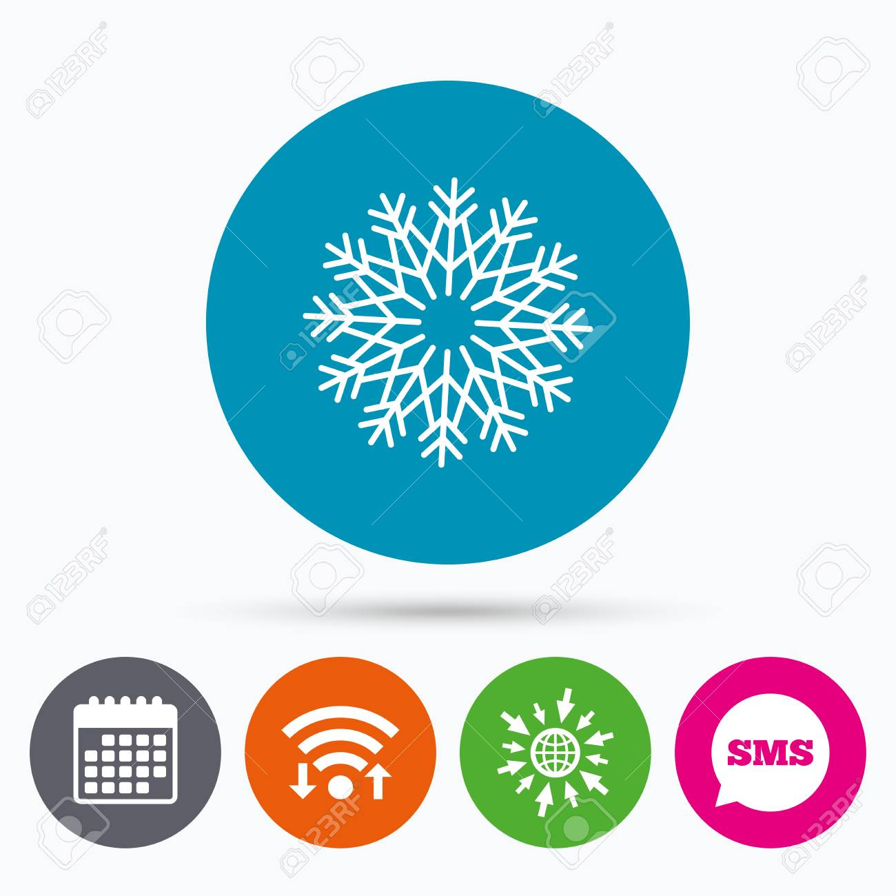Wifi, Sms And Calendar Icons. Snowflake Artistic Sign Icon ...