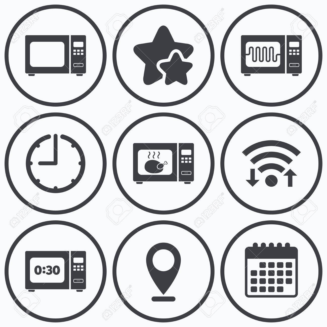 Clock, Wi-Fi Und Sterne Symbole. Mikrowelle Symbole. Kochen Sie In E ...