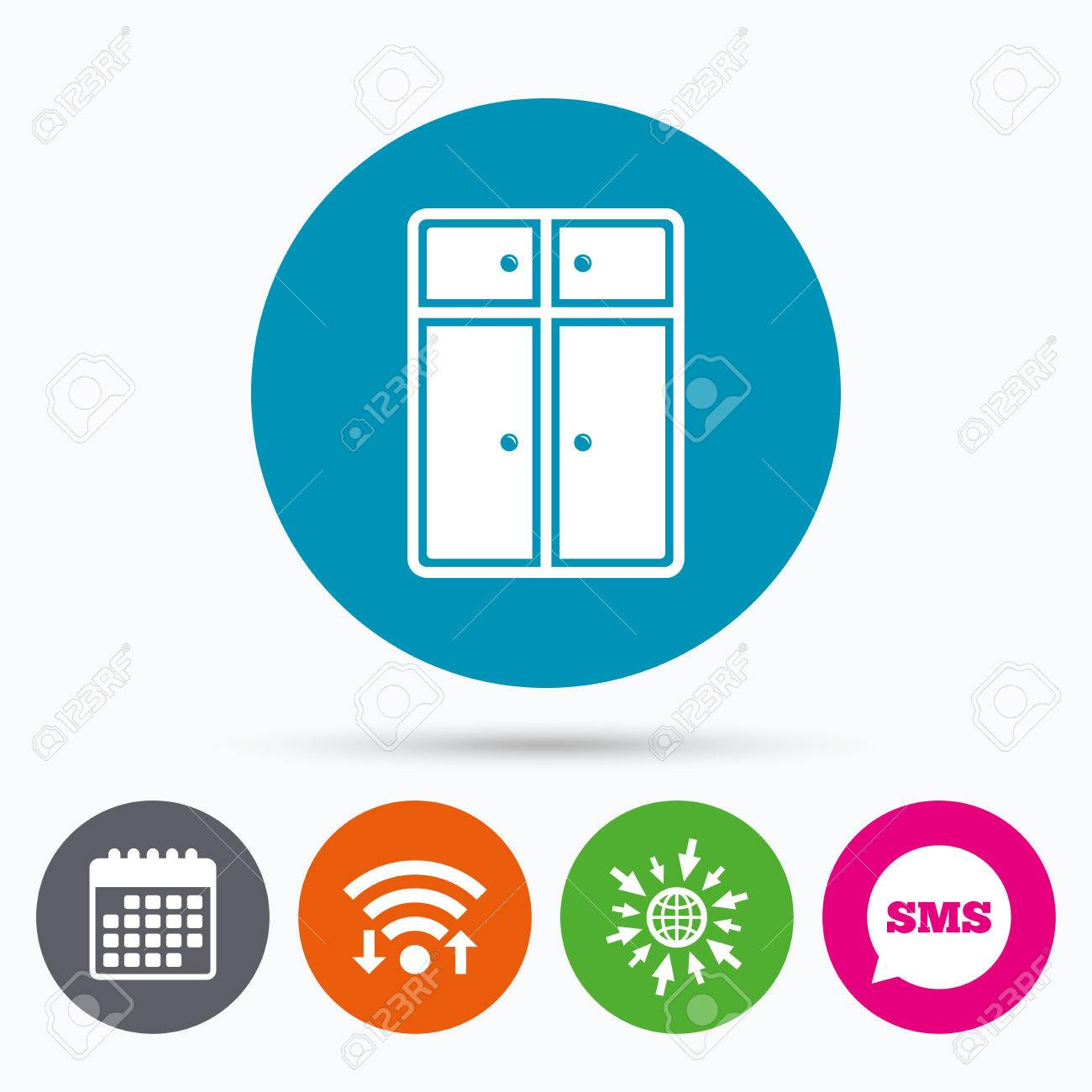 Modern Furniture Icon wifi, sms and calendar icons. cupboard sign icon. modern furniture