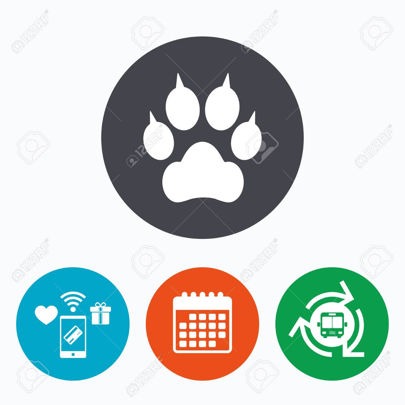 a21fb9a595c3cd Dog Paw With Clutches Sign Icon. Pets Symbol. Mobile Payments ...