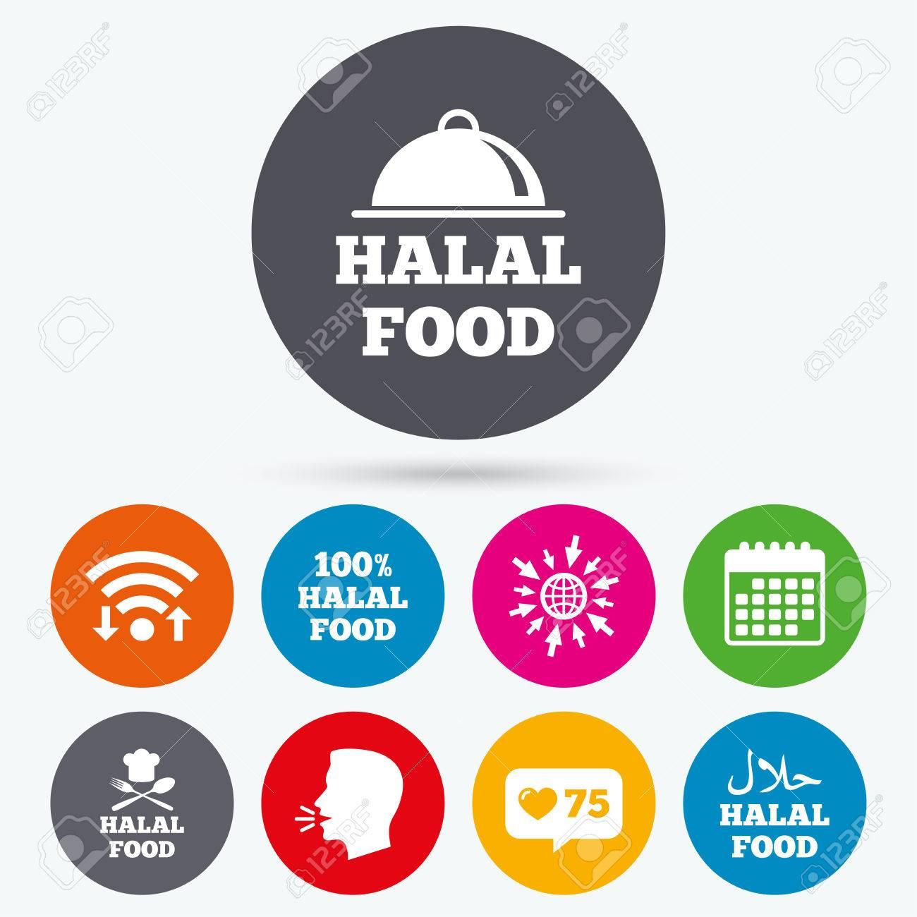 Wifi Like Counter And Calendar Icons Halal Food Icons 100