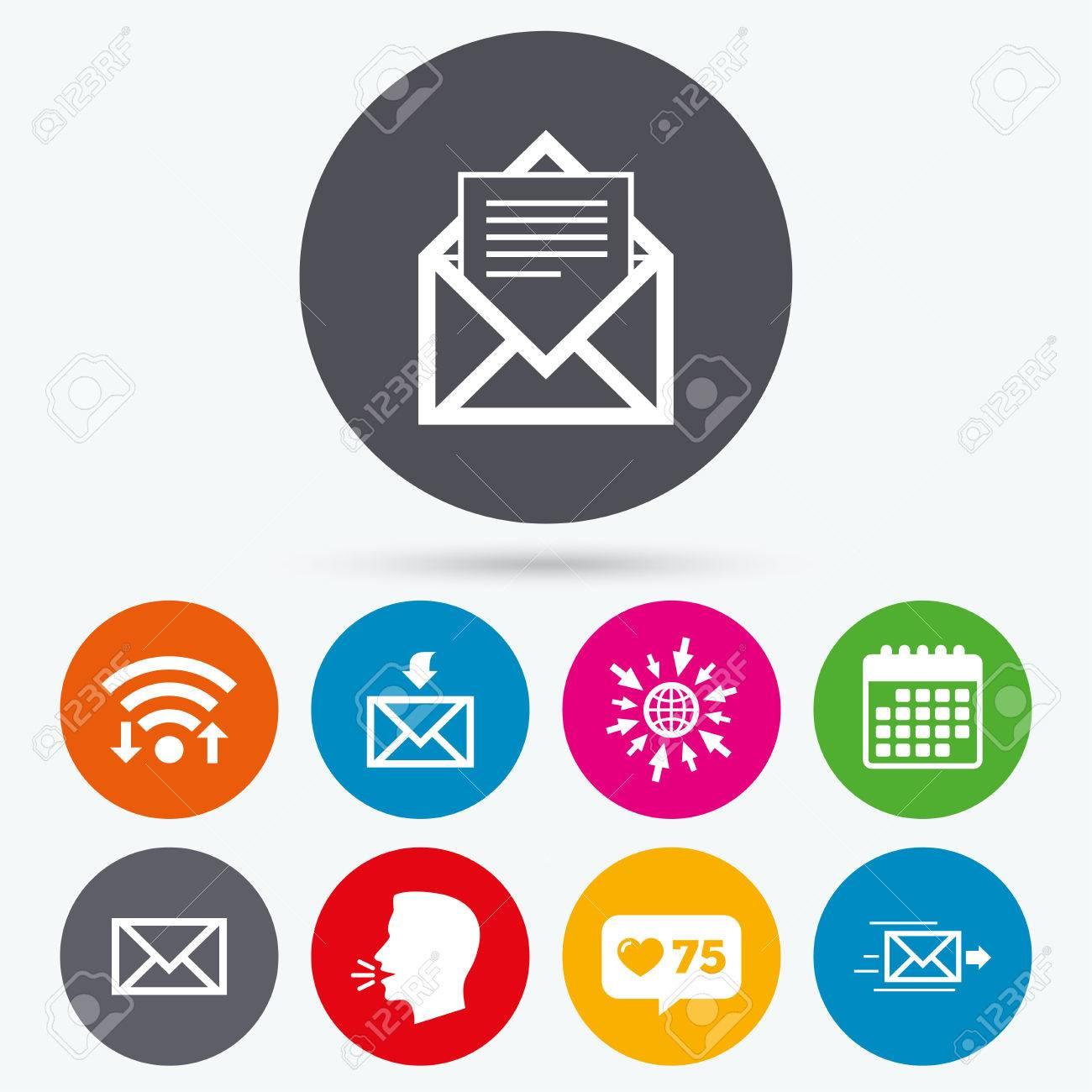Courrier Et Calendrier.Wifi Comme Compteur Et Calendrier Icones Icones D Enveloppe De Courrier Message Symbole Document De Livraison Deposer Des Signes De Lettre De