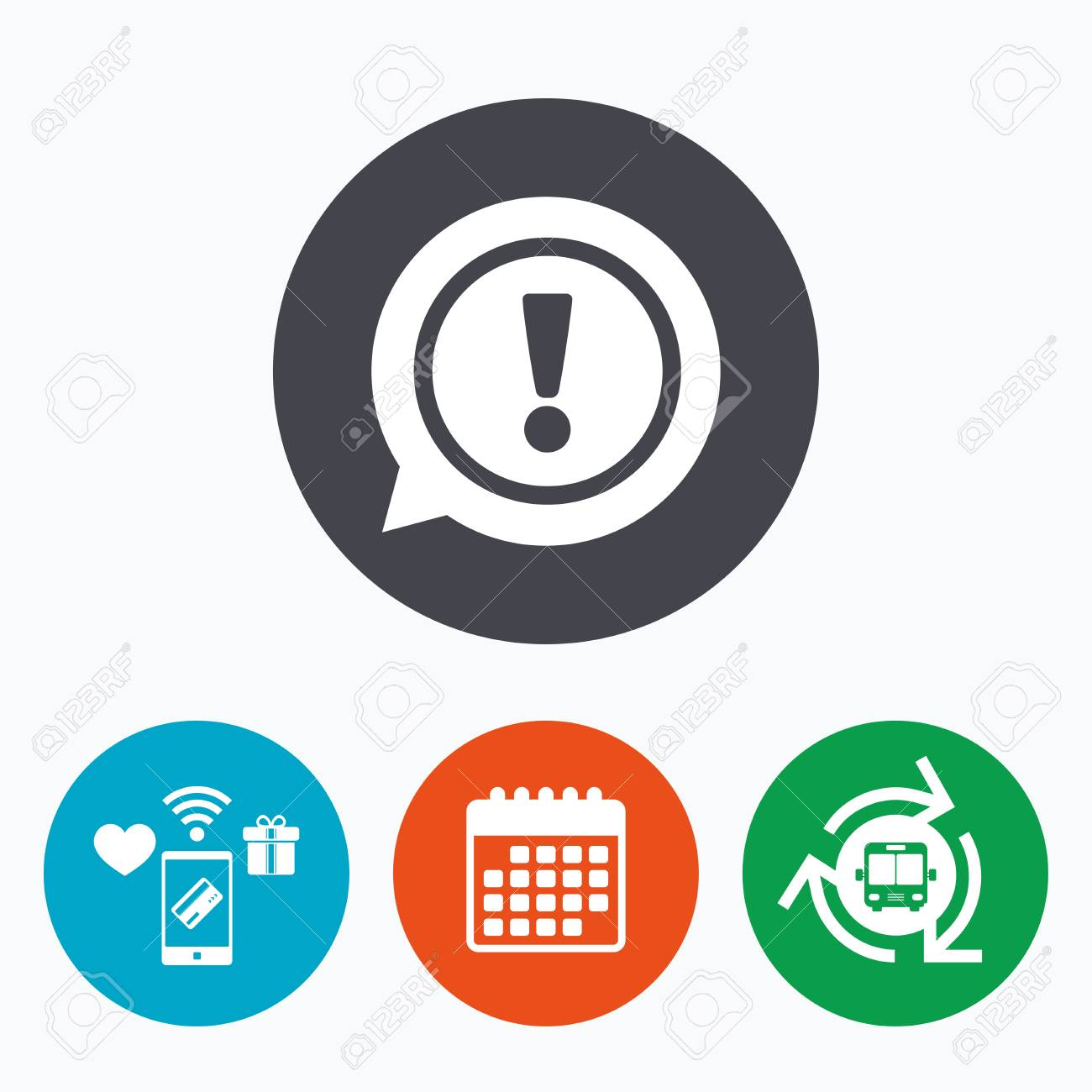 Exclamation mark sign icon attention speech bubble symbol mobile exclamation mark sign icon attention speech bubble symbol mobile payments calendar and wifi biocorpaavc