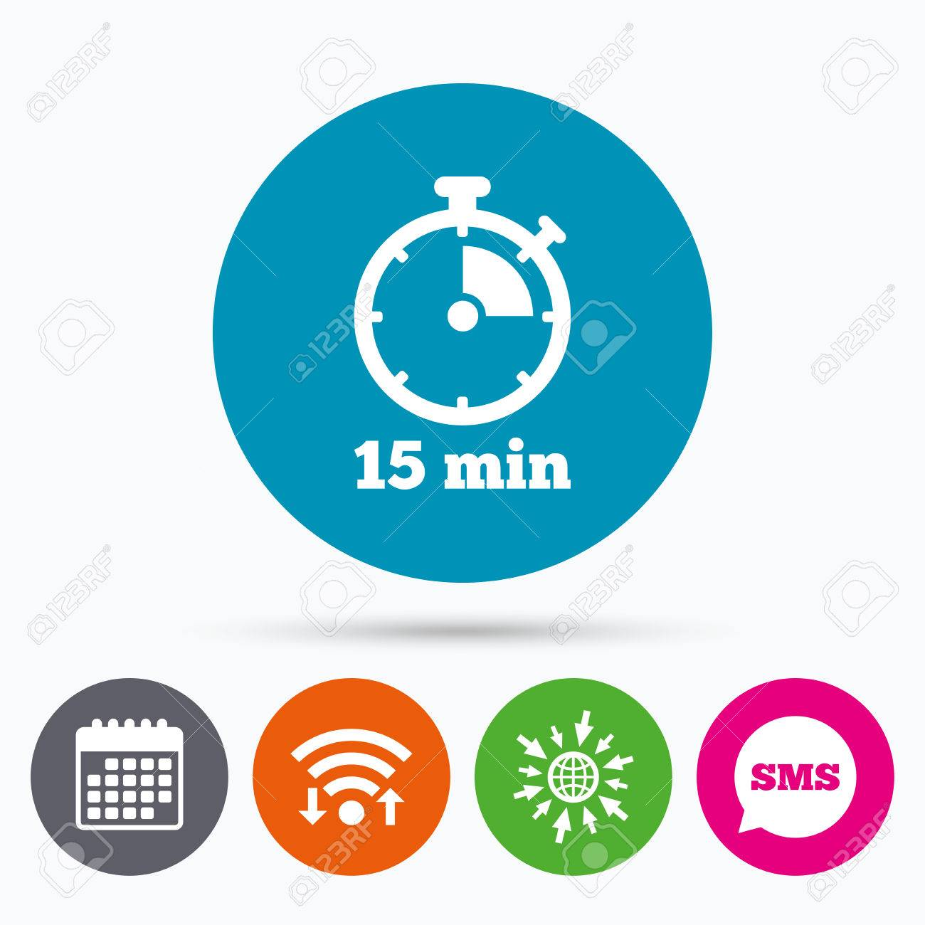 Wifi, Sms and calendar icons  Timer sign icon  15 minutes stopwatch