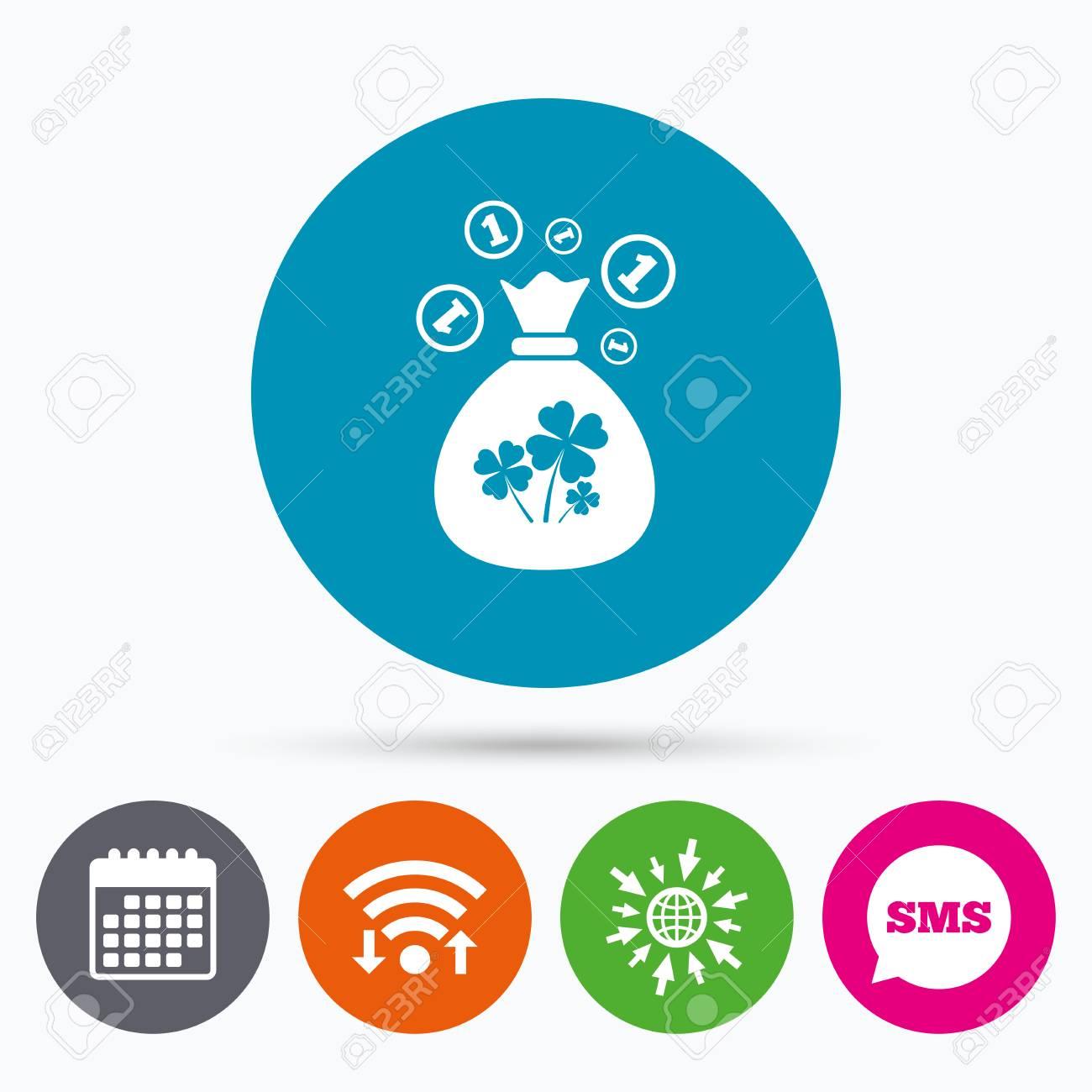 Dinero E La San Globo De Con A Iconos Icono WifiSms MuestraSímbolo Web CalendarioBolsa Y PatricioIr Tréboles Monedas XiPOkTZu