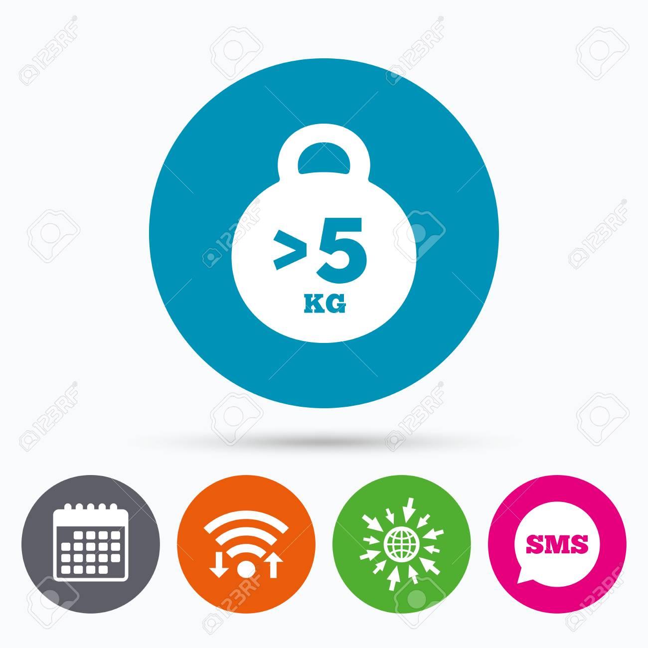 Calendario Icona.Wifi Sms E Calendario Icone Peso Segno Icona Piu Di 5 Kg Kg Simbolo Sport Fitness Vai A Web Globo