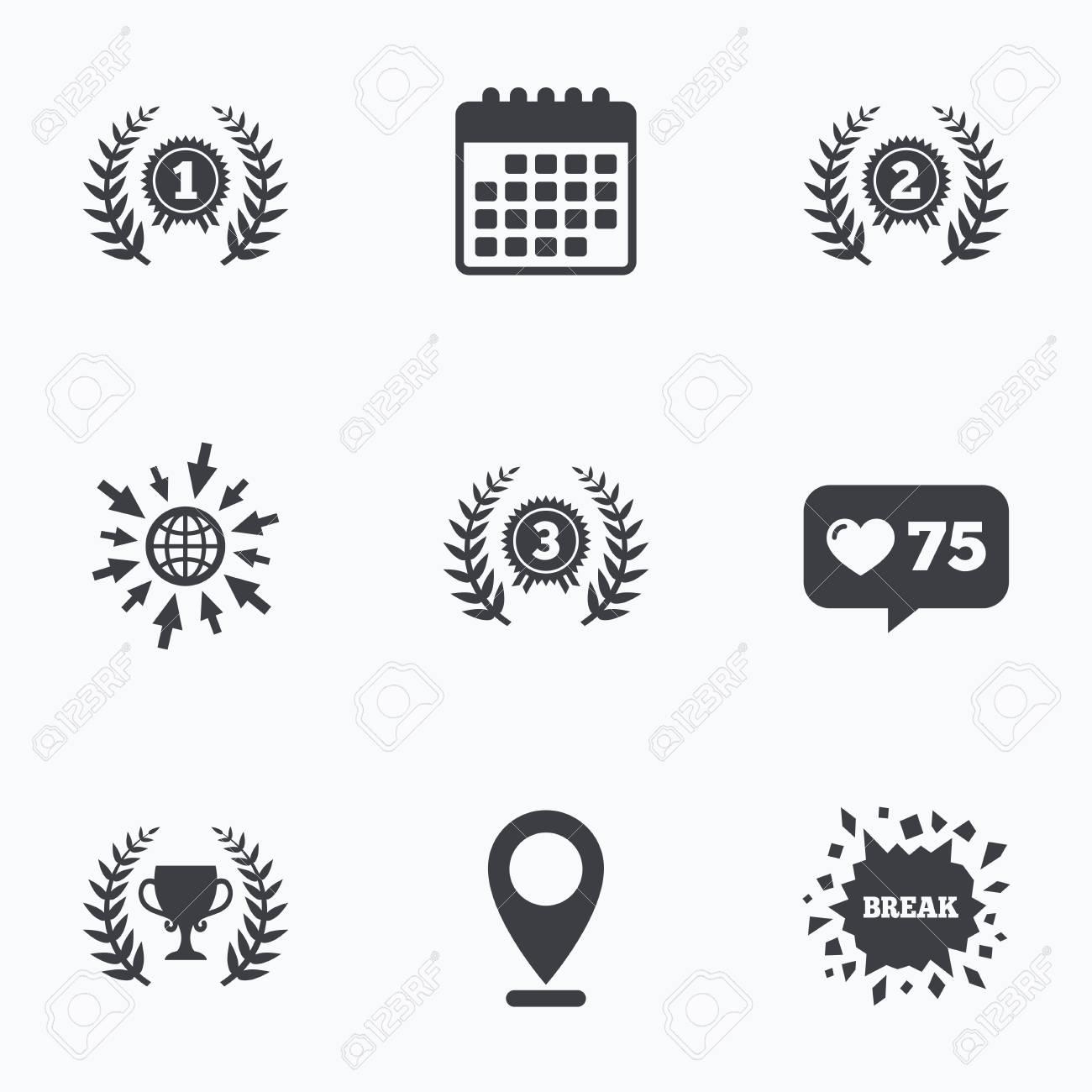 Calendrier Prix.Calendrier Comme Comptoir Et Aller A Icones Web Laurel Prix Couronne Icones Coupe Du Prix Pour Les Signes Gagnant Premiere Deuxieme Et Troisieme