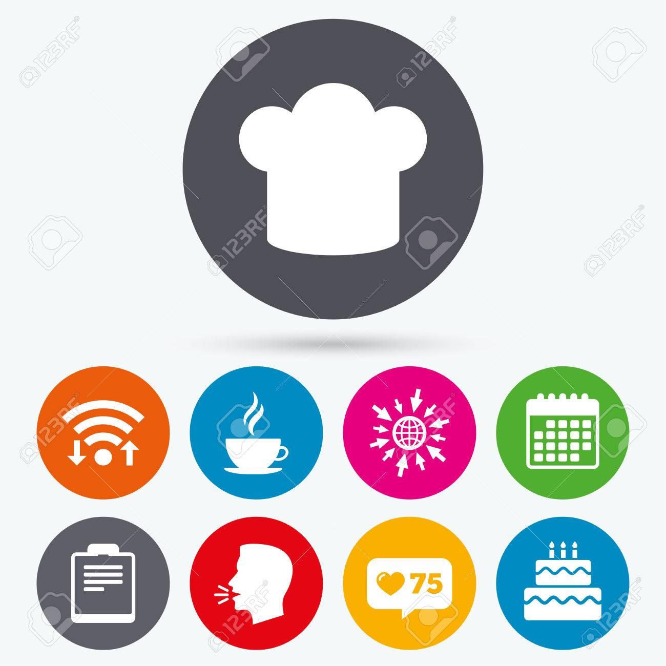 Calendario Icona.Wifi Come Icone Contatore E Calendario Icona Della Tazza Di Caffe Simbolo Cappello Da Cuoco Segni Di Torta Di Compleanno File Di Documento