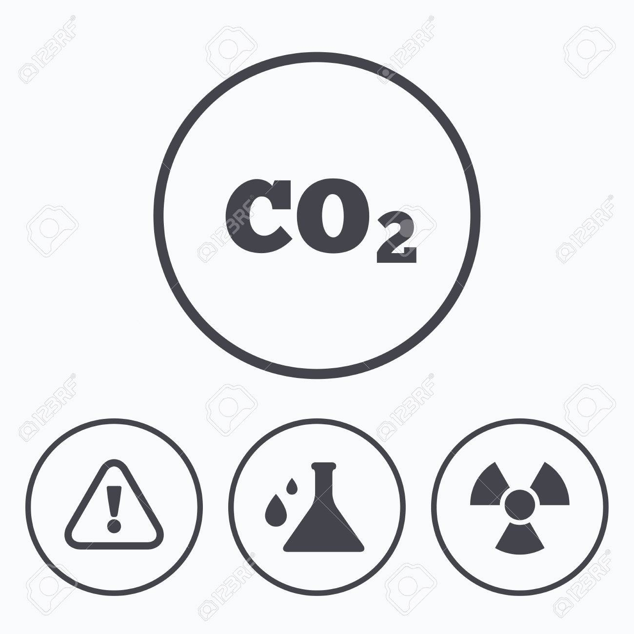 Attention and radiation icons chemistry flask sign co2 carbon attention and radiation icons chemistry flask sign co2 carbon dioxide symbol icons in buycottarizona Images
