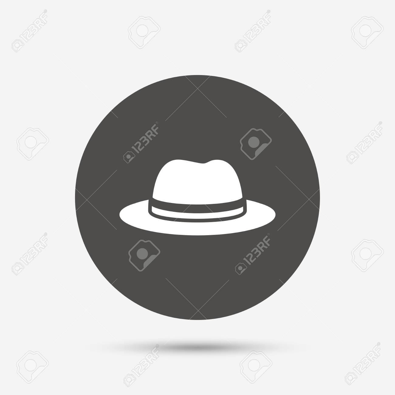 44fdb0e52120d Foto de archivo - Icono superior signo sombrero. símbolo tocado clásico.  botón círculo gris con el icono. Vector