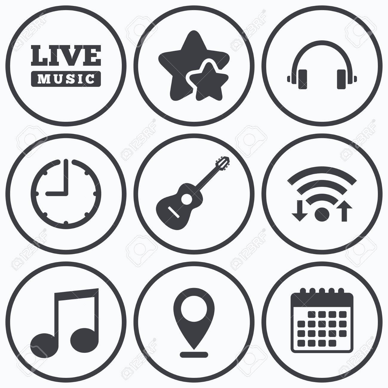 Clock wifi and stars icons musical elements icons musical calendar symbol clock wifi and stars icons musical elements icons musical note key and live biocorpaavc Images