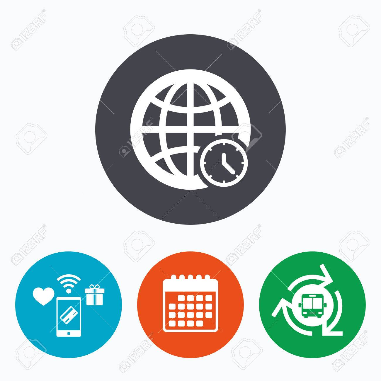 World Time Sign Icon Universal Time Globe Symbol Mobile Payments
