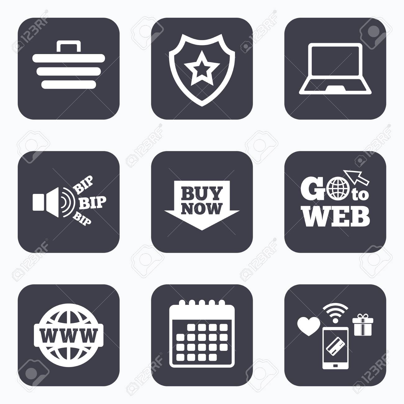 Mobile payments, wifi and calendar icons  Online shopping icons
