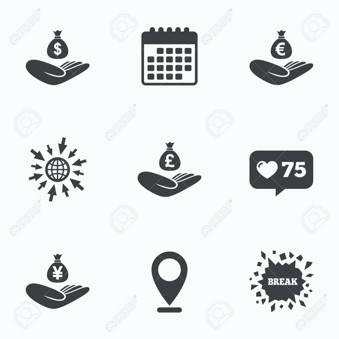 Calendar Like Counter And Go To Web Icons Helping Hands Icons
